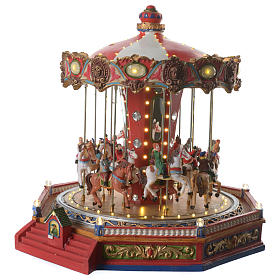Merry go round with horses for Christmas village with lights, movement and music 35x35x35 cm s2