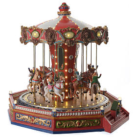 Merry go round with horses for Christmas village with lights, movement and music 35x35x35 cm s3