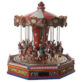 Merry go round with horses for Christmas village with lights, movement and music 35x35x35 cm s4