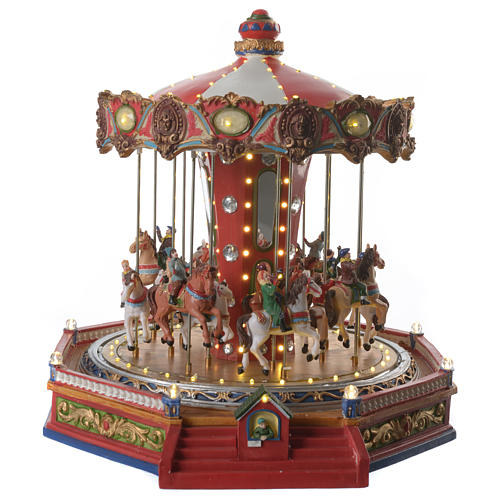Merry go round with horses for Christmas village with lights, movement and music 35x35x35 cm 1