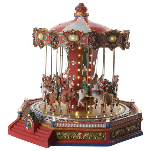 Merry go round with horses for Christmas village with lights, movement and music 35x35x35 cm 2