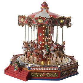 Tiovivo de los caballos para aldea navideño iluminado en movimiento y música 35x35x35 s2