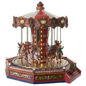 Tiovivo de los caballos para aldea navideño iluminado en movimiento y música 35x35x35 s3