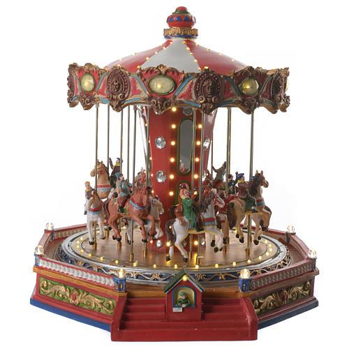 Tiovivo de los caballos para aldea navideño iluminado en movimiento y música 35x35x35 1