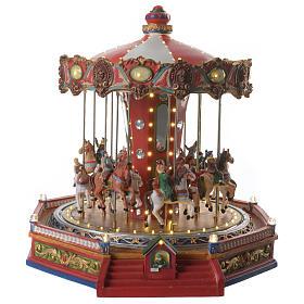Cenários Natalinos em Miniatura: Carrossel com cavalos para cenário natalino iluminado em movimento e música 36x34x35 cm