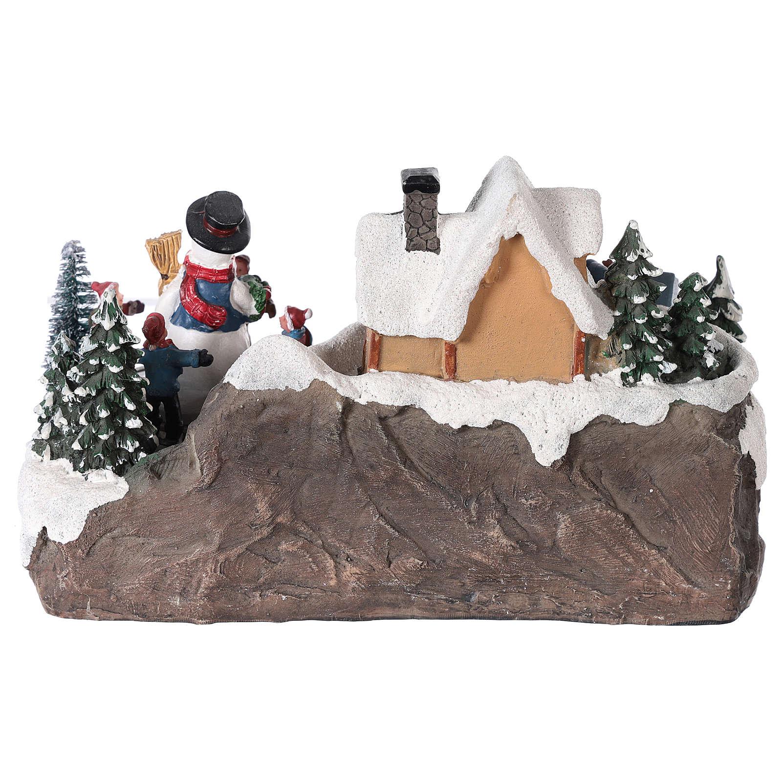 Winterszene Kind mit Tannenbaum 25x15x15cm Licht und Bewegung mit Batterien 3