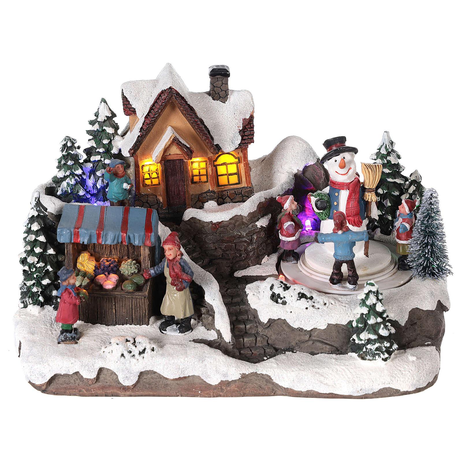 Aldea de navidad niño y hombre de nieve en movimiento iluminado 25x15x15 3