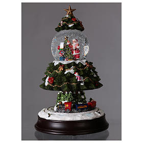 Snow globe with lights, train movement and music 28 cm s2