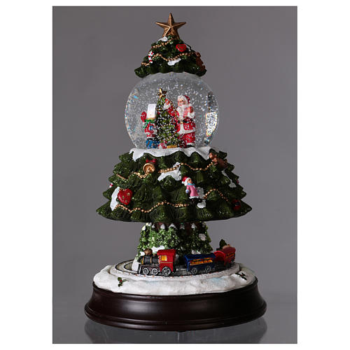 Snow globe with lights, train movement and music 28 cm 2