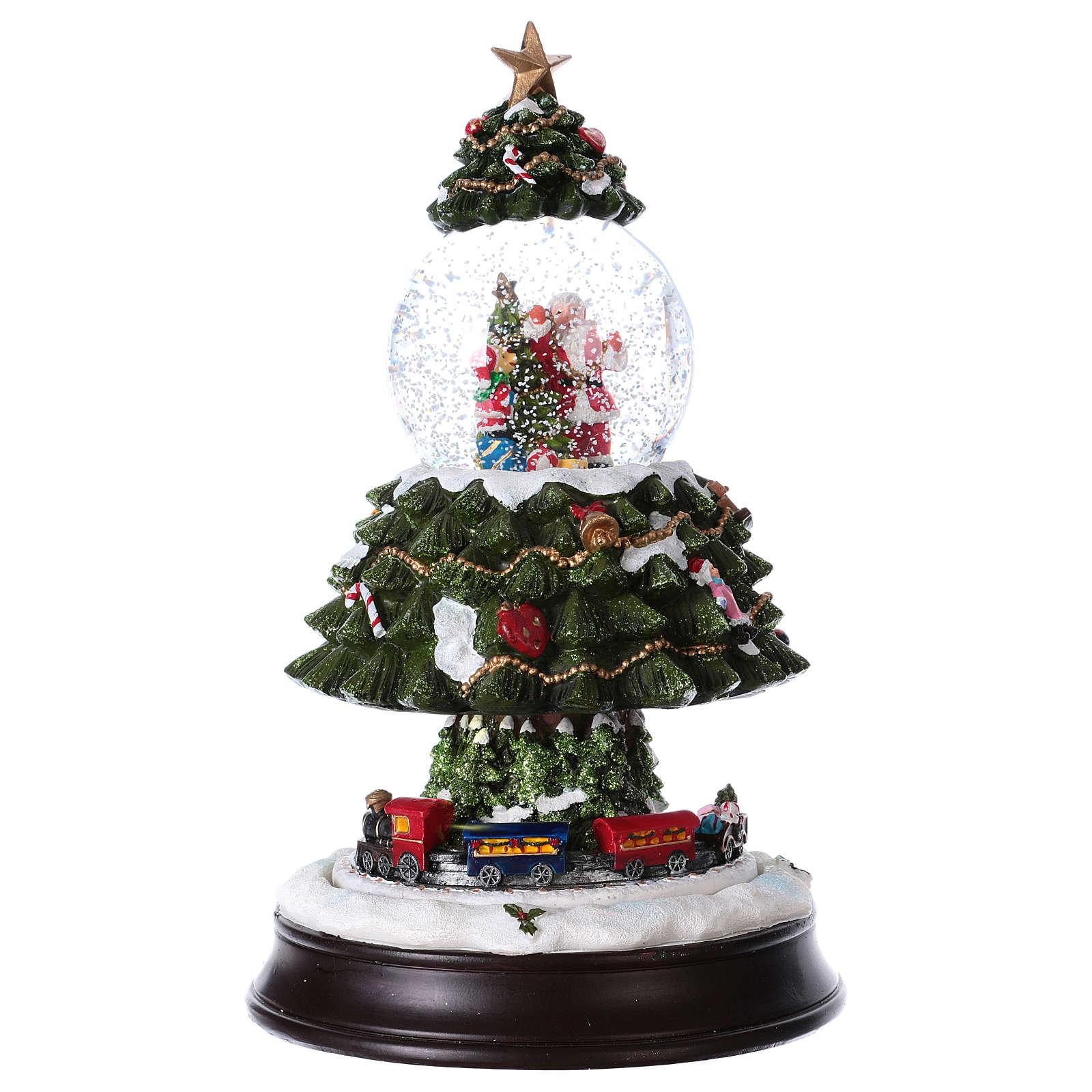 Bola de Nieve en vidrio Árbol de Navidad con Tren en Movimiento y Música 28 cm 3