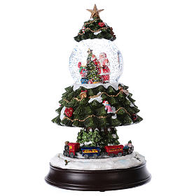Bola de Nieve en vidrio Árbol de Navidad con Tren en Movimiento y Música 28 cm s1