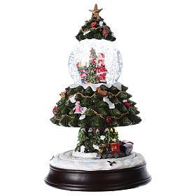 Bola de Nieve en vidrio Árbol de Navidad con Tren en Movimiento y Música 28 cm s3