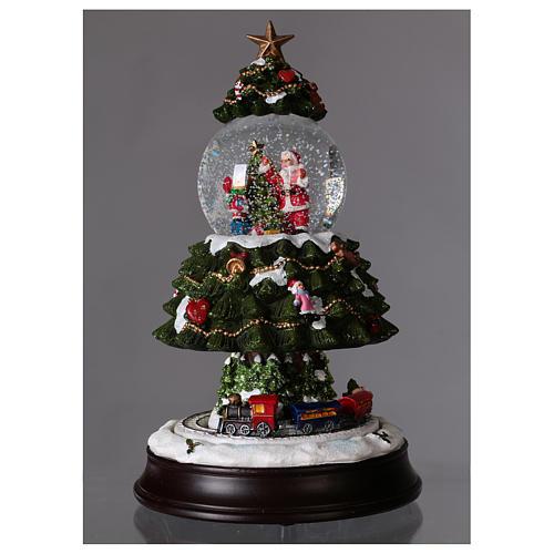 Bola de Nieve en vidrio Árbol de Navidad con Tren en Movimiento y Música 28 cm 2