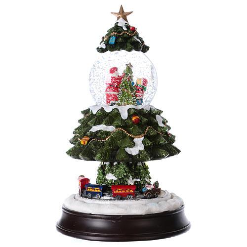 Bola de Nieve en vidrio Árbol de Navidad con Tren en Movimiento y Música 28 cm 5