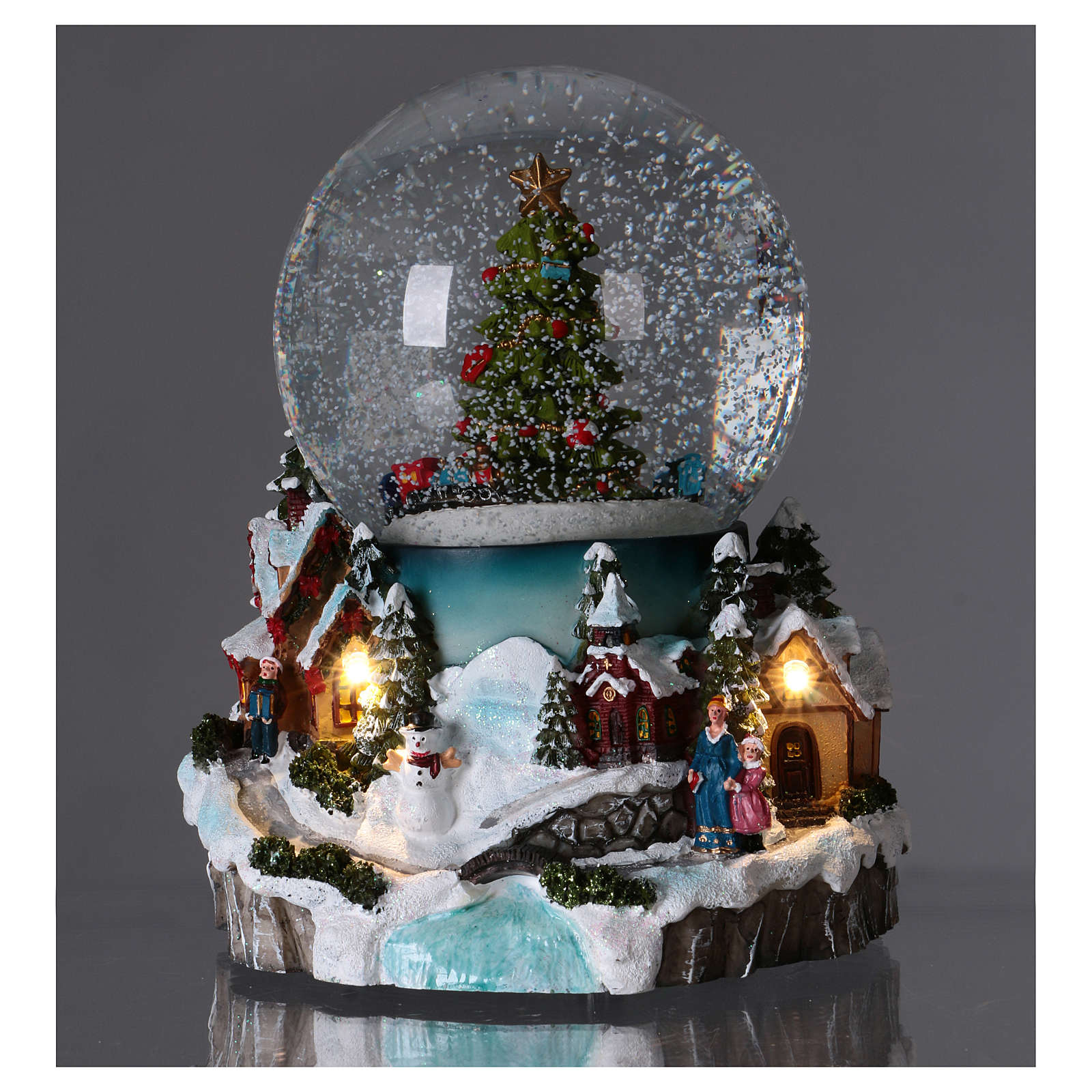 Snow globe with lights, train movement and music 20 cm 3