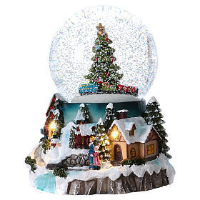 Snow globe with lights, train movement and music 20 cm s3