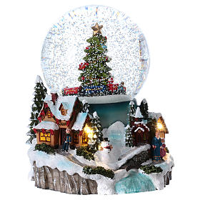 Snow globe with lights, train movement and music 20 cm s4
