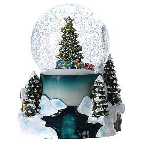 Snow globe with lights, train movement and music 20 cm s5