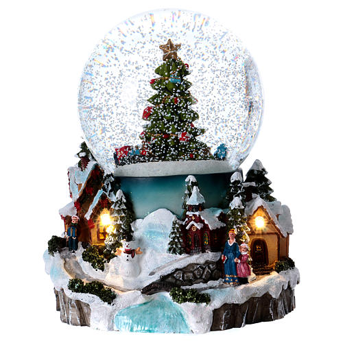 A Christmas Snow.Illuminated Musical Christmas Snow Globe With Tree 20 Cm