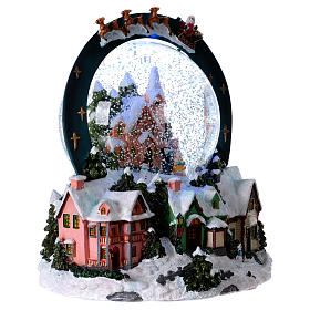 Sfera vetro neve luci movimento 20 cm resina s4