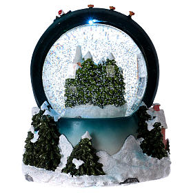 Sfera vetro neve luci movimento 20 cm resina s5