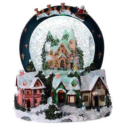 Sfera vetro neve luci movimento 20 cm resina 1