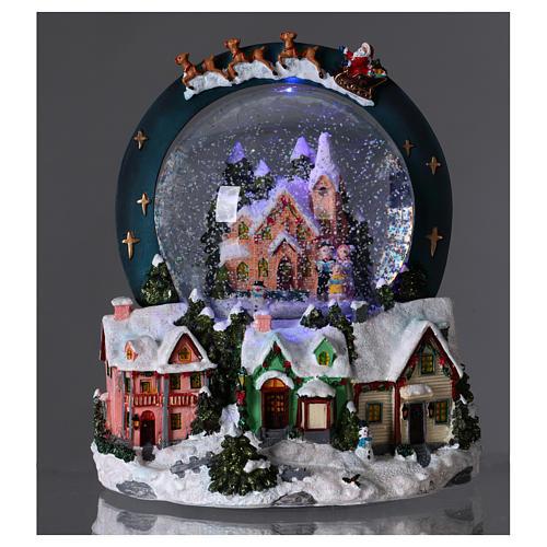 Sfera vetro neve luci movimento 20 cm resina 2