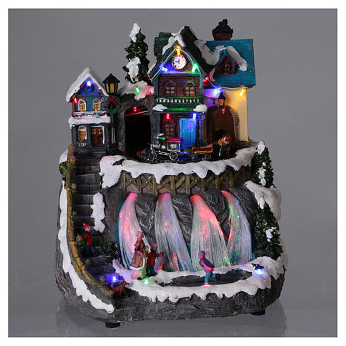 Christmas village with fiber optics lights and moving train 30x25x30 cm 2