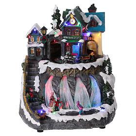 Villages de Noël miniatures: Village de Noël lumières fibre optique train musique 30x25x30 cm courant