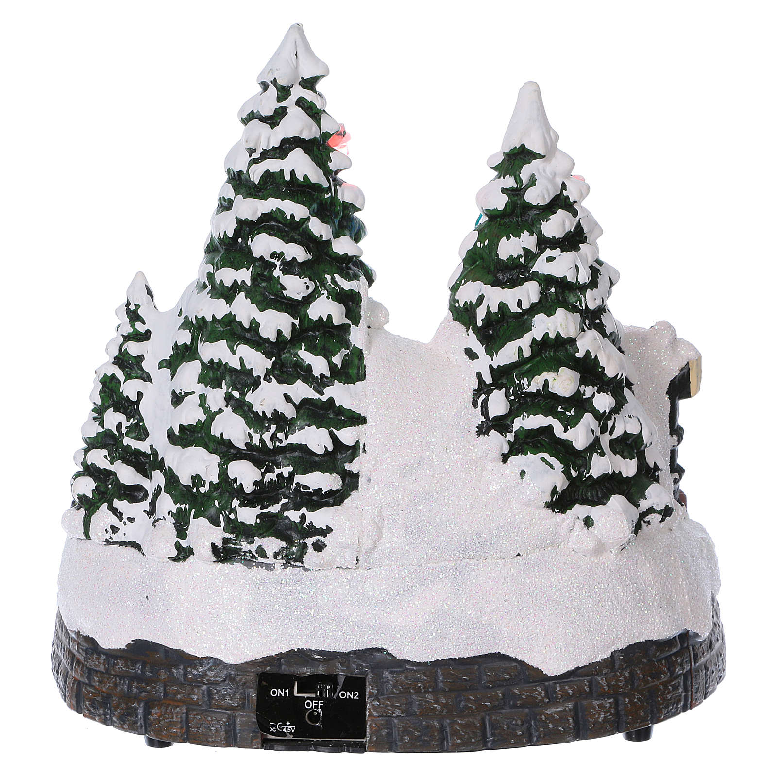 Cenário Natal trem movimento túnel Pai Natal rede 20x20x20 cm pilhas corrente 3