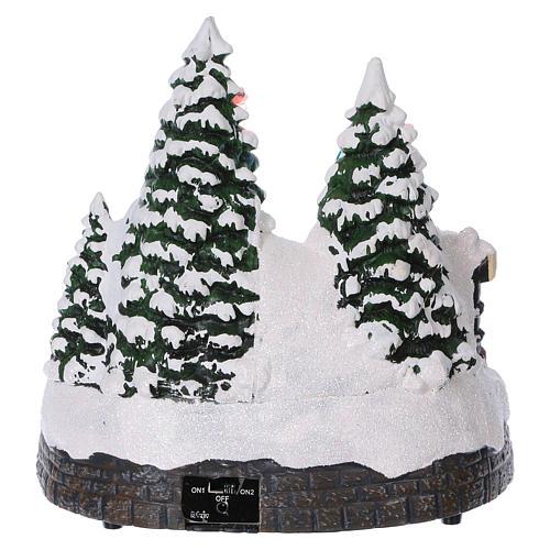 Cenário Natal trem movimento túnel Pai Natal rede 20x20x20 cm pilhas corrente 5