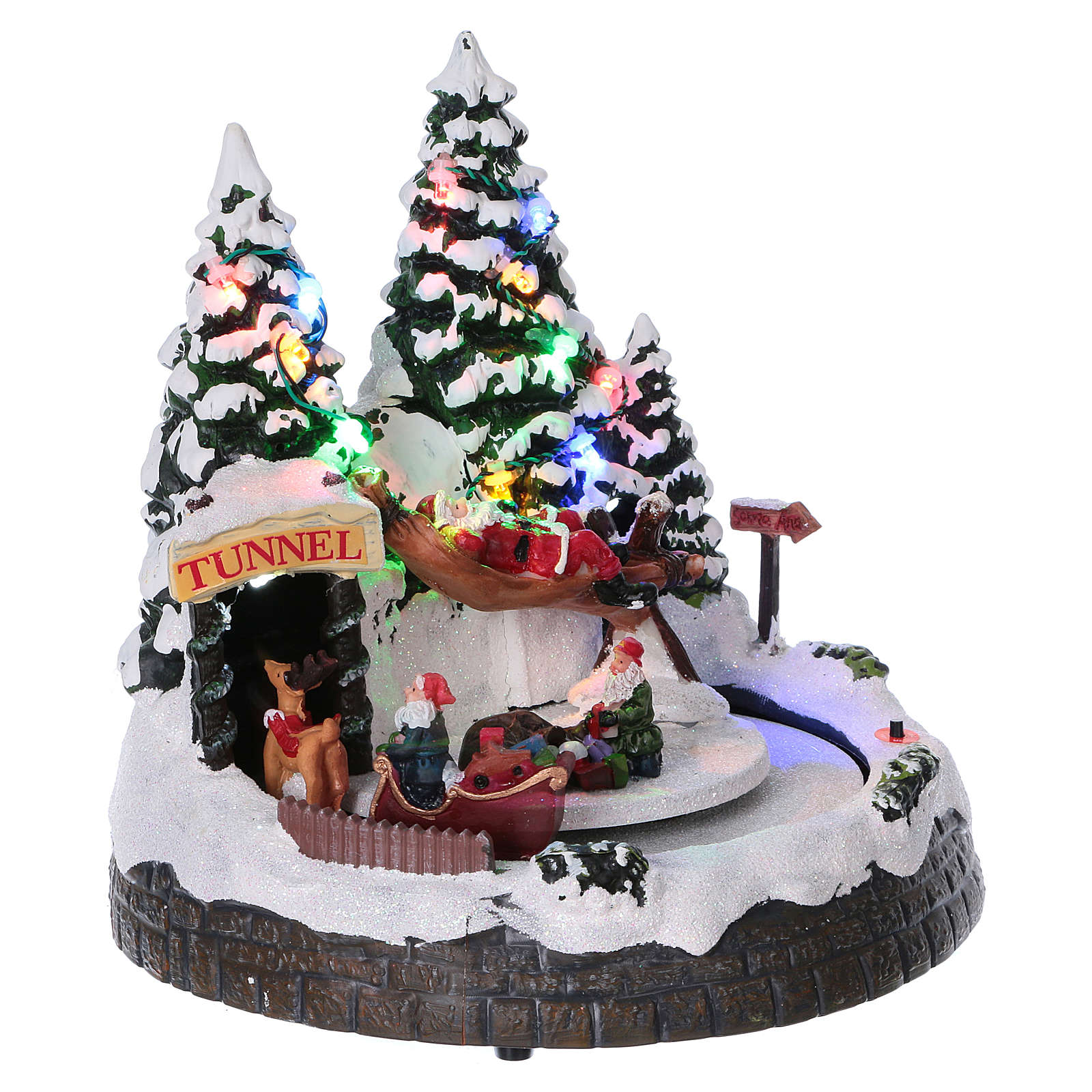 Christmas village scene moving sleigh, tunnel and Santa Claus on hammock 20x20x18 cm 3