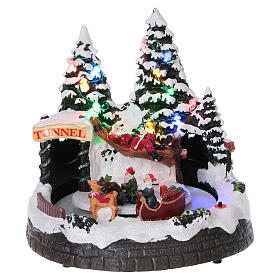Christmas village scene moving sleigh, tunnel and Santa Claus on hammock 20x20x18 cm s1
