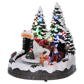 Christmas village scene moving sleigh, tunnel and Santa Claus on hammock 20x20x18 cm s3