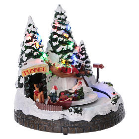 Christmas village scene moving sleigh, tunnel and Santa Claus on hammock 20x20x18 cm s4