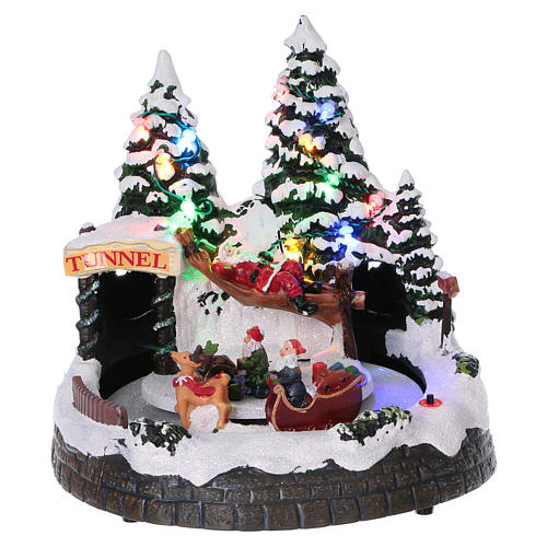 Christmas village scene moving sleigh, tunnel and Santa Claus on hammock 20x20x18 cm 1