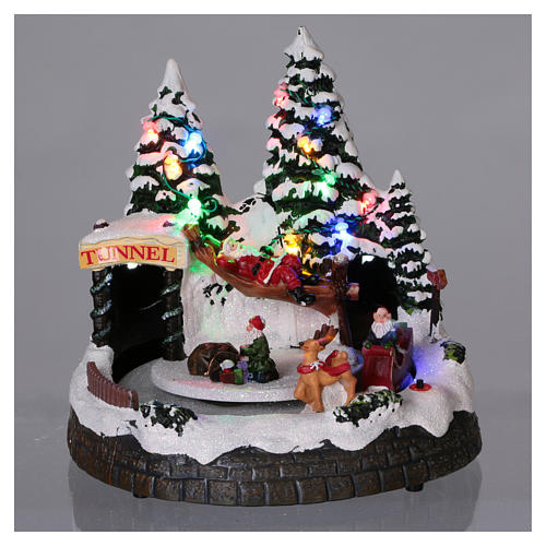 Christmas village scene moving sleigh, tunnel and Santa Claus on hammock 20x20x18 cm 2