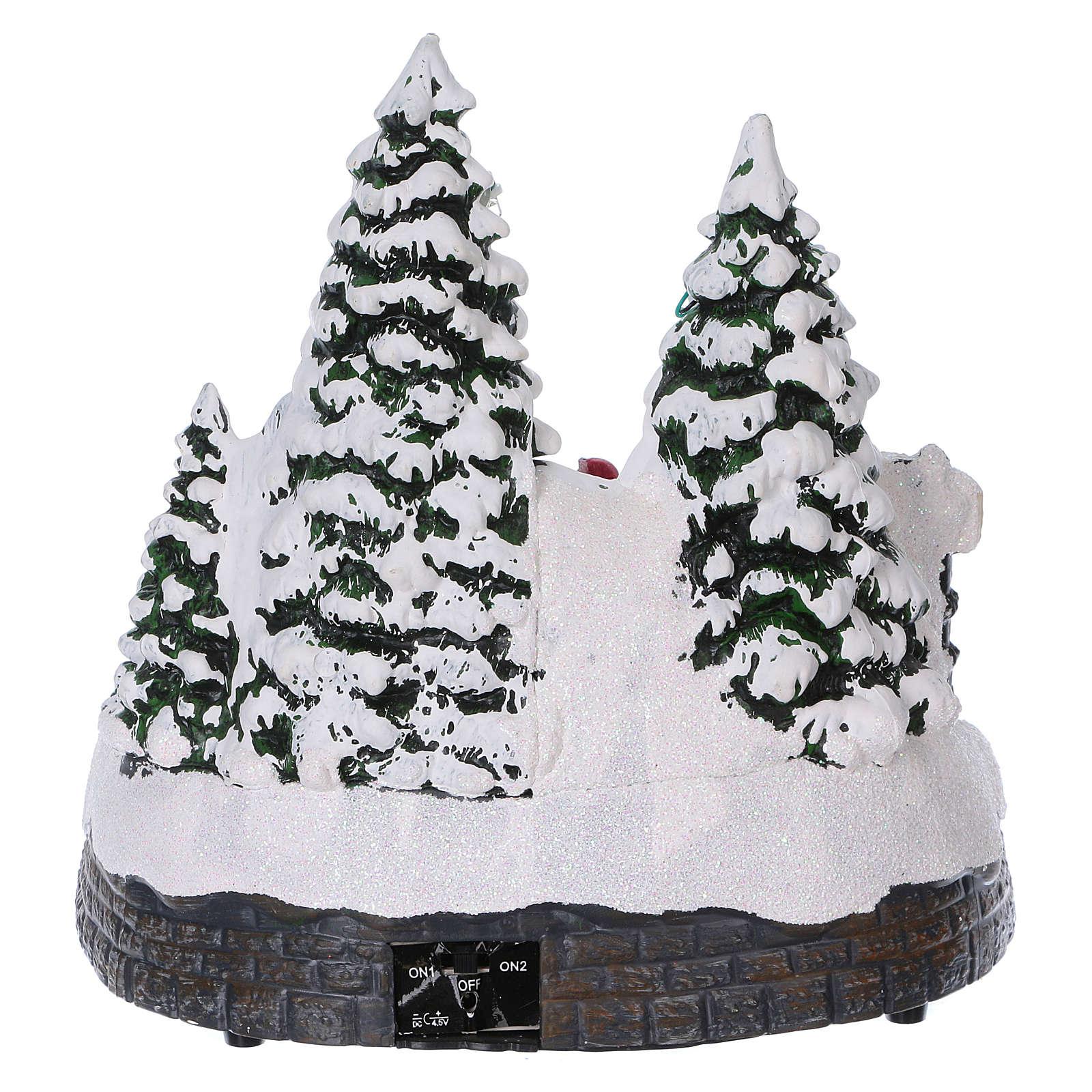 Weihnachtsdorf mit Zug in Bewegung Tunnel und Weihnachtsmann 20x20x20 mit Batterie und Netzanschluss 3