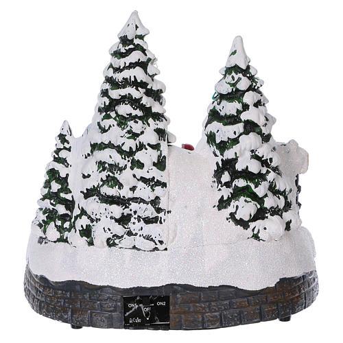 Weihnachtsdorf mit Zug in Bewegung Tunnel und Weihnachtsmann 20x20x20 mit Batterie und Netzanschluss 5