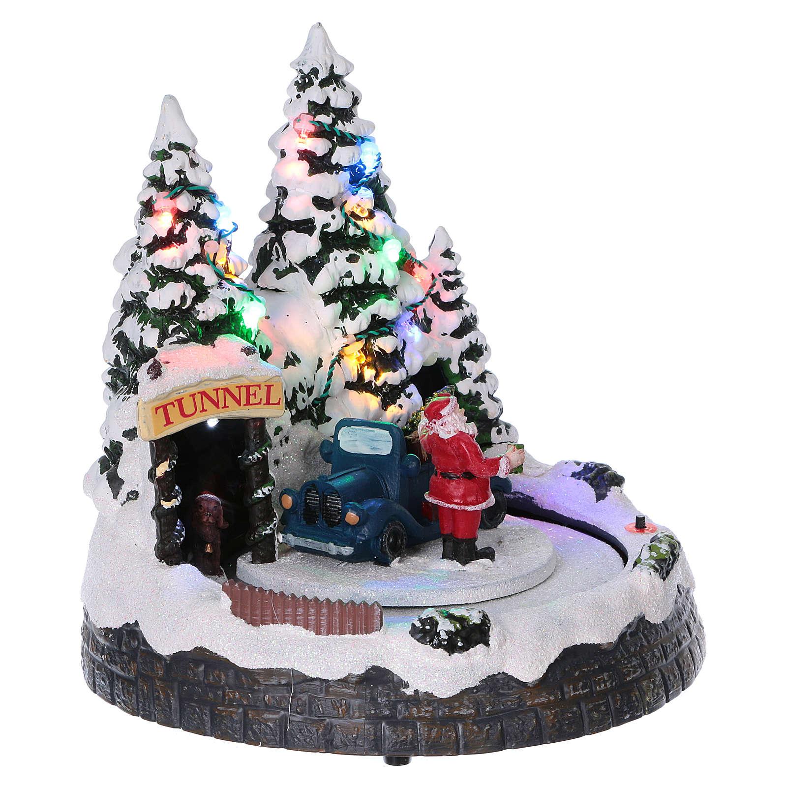 Cenário Natal trem movimento túnel Pai Natal 20x20x18 cm pilhas corrente 3