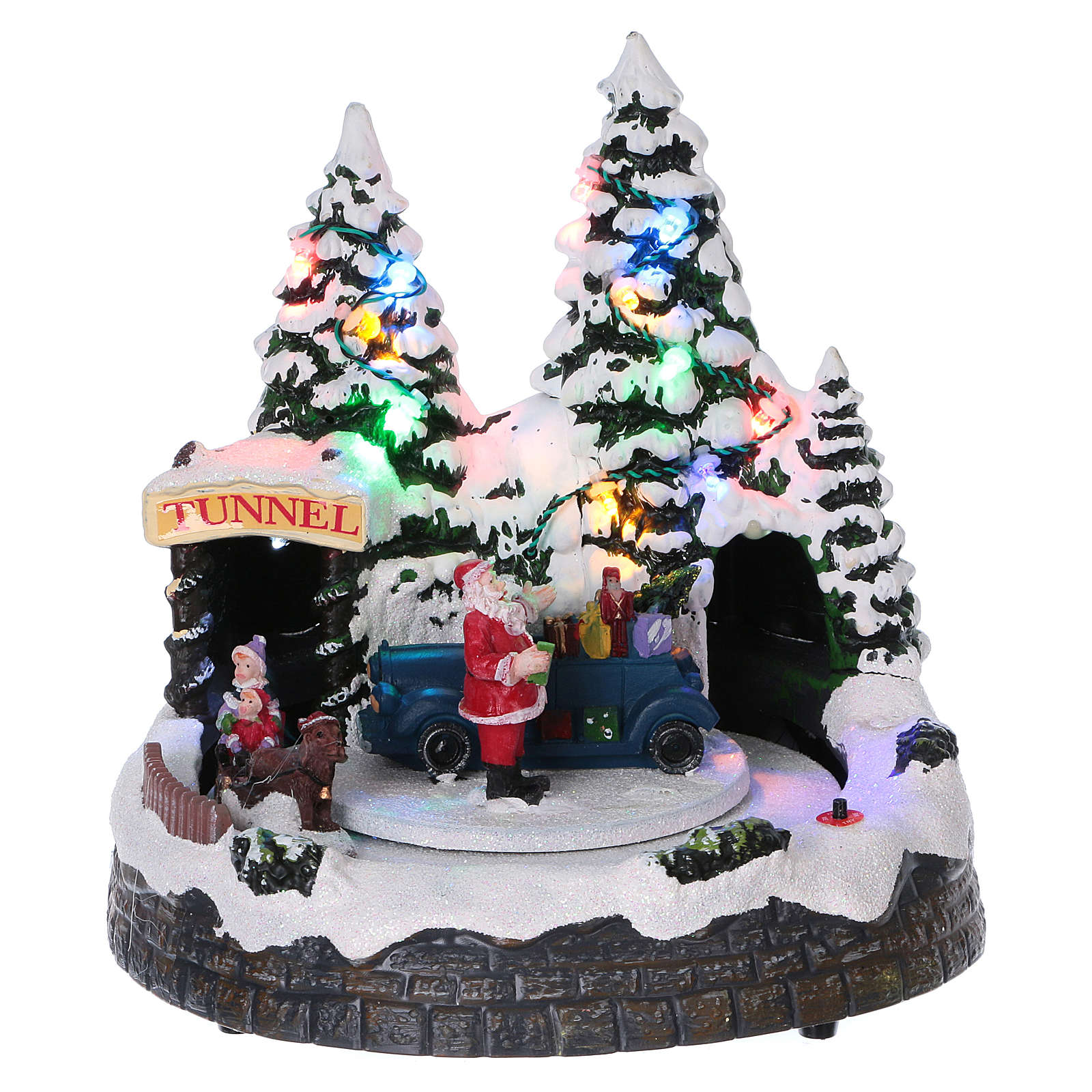 christmas village scene moving sleigh tunnel and santa claus 20x20x18 cm 3