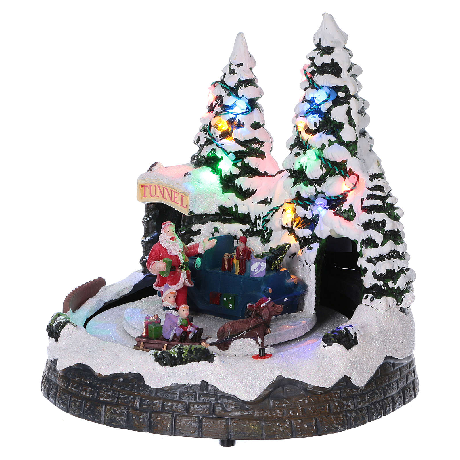 Christmas village scene moving sleigh, tunnel and Santa Claus 20x20x18 cm 3