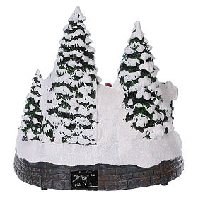 Christmas village scene moving sleigh, tunnel and Santa Claus 20x20x18 cm s5