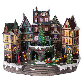 Christmas village with lights and moving tree 30x40x20 cm s1