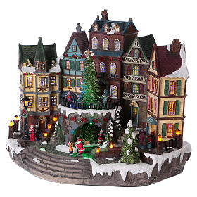 Christmas village with lights and moving tree 30x40x20 cm s3