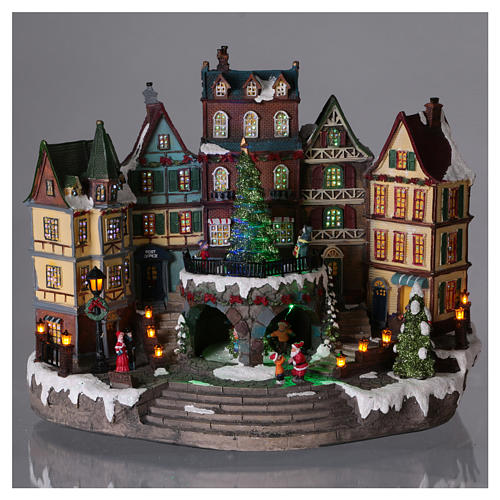 Christmas village with lights and moving tree 30x40x20 cm 2