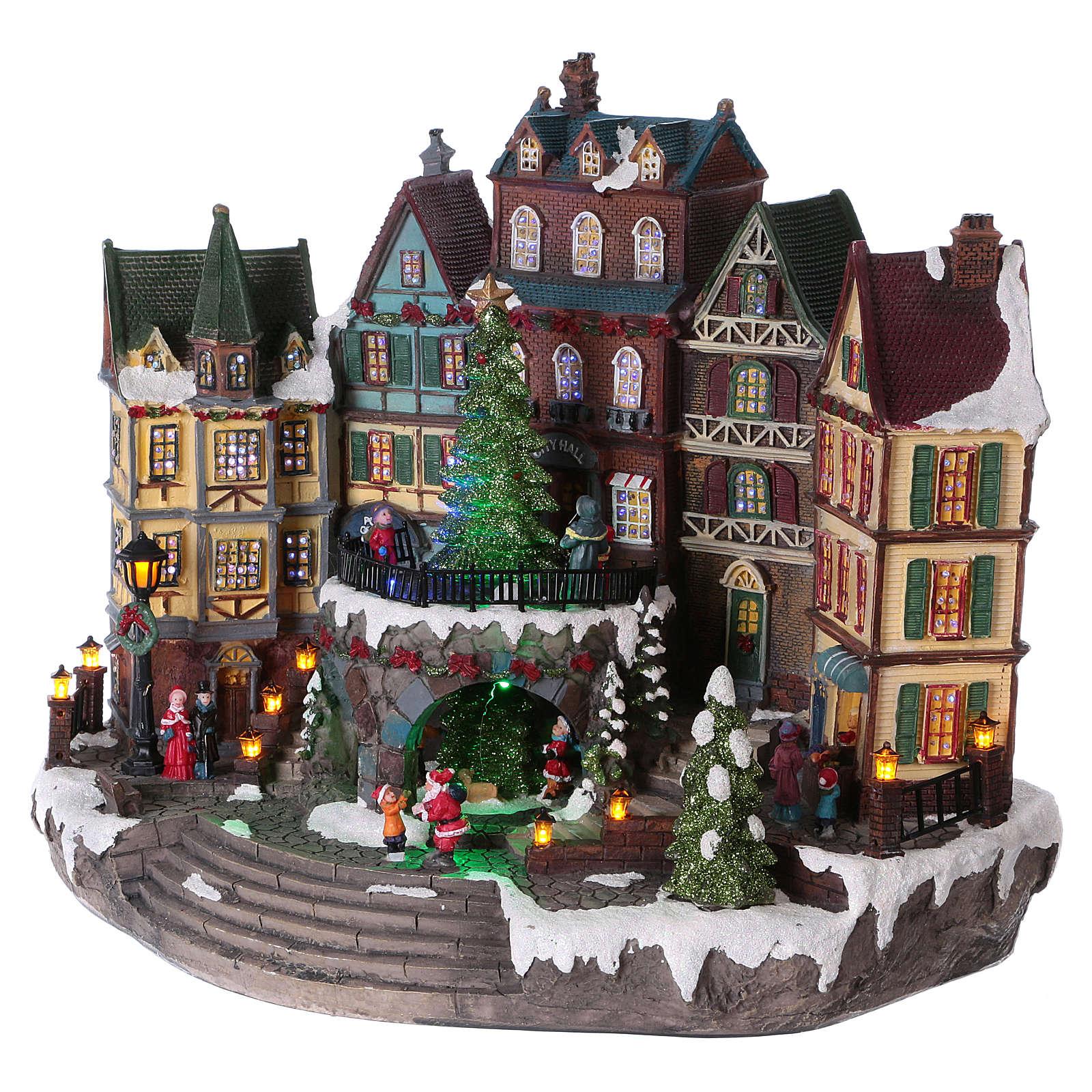 Pueblo Navideño Alpino con Árbol de Navidad en Movimiento 31x38x20 cm batería y corriente 3
