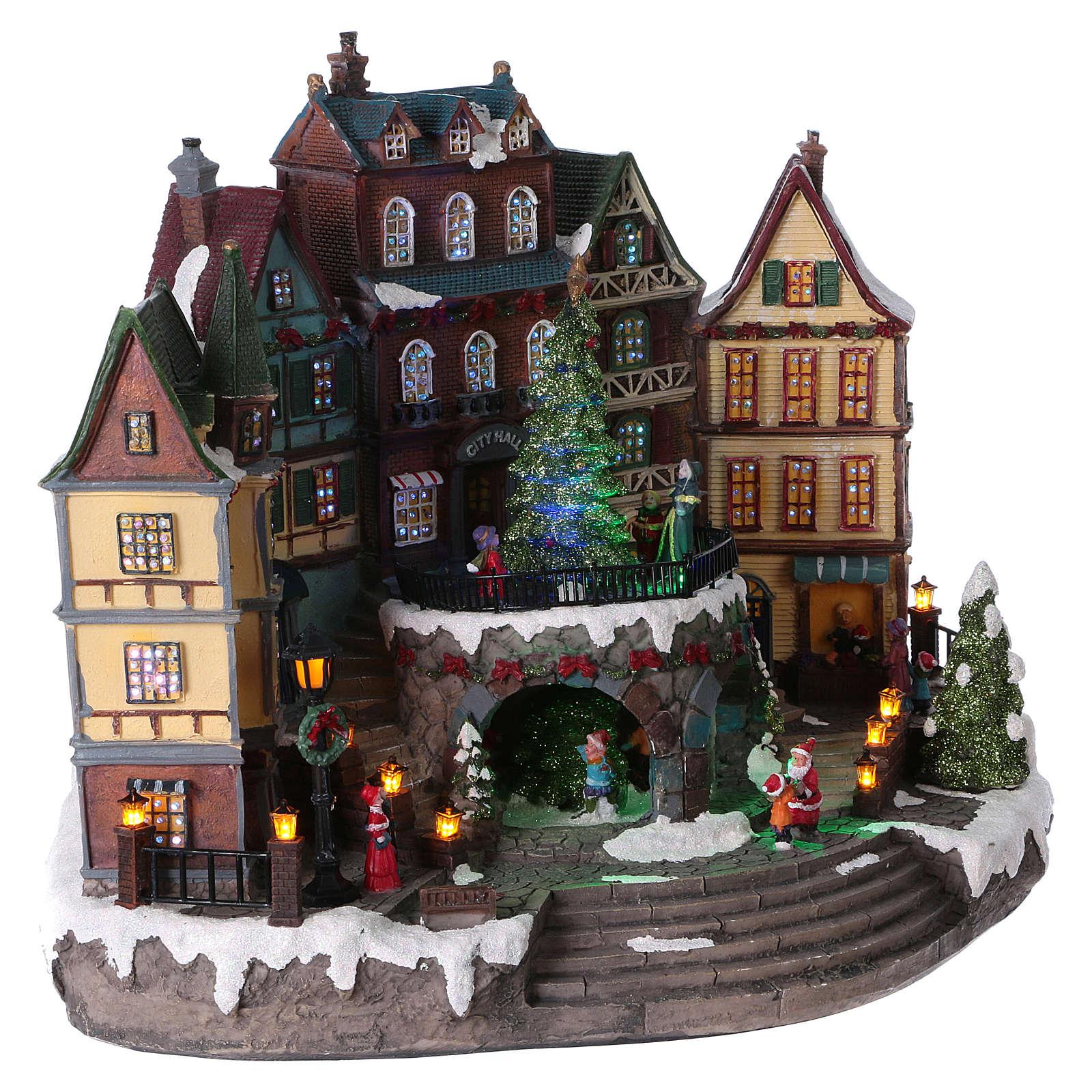 Villaggio di Natale albero movimento paese alpino 30x40x20 batteria corrente 3