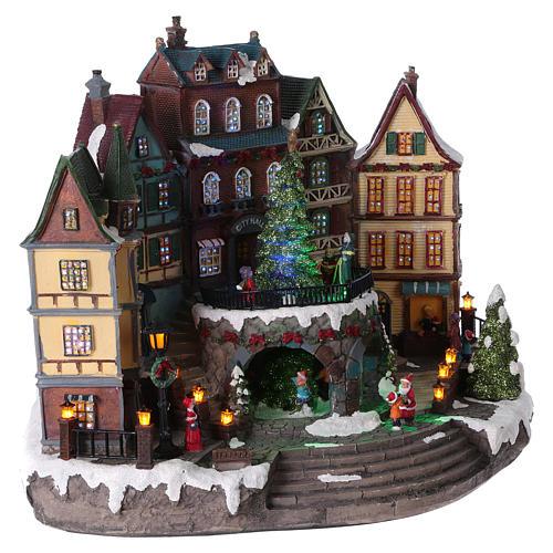 Villaggio di Natale albero movimento paese alpino 30x40x20 batteria corrente 4
