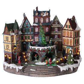 Cenários Natalinos em Miniatura: Cenário de Natal árvore movimento aldeia alpina 30x40x20 cm pilhas corrente